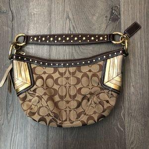 Coach signature print bag studs / metallic